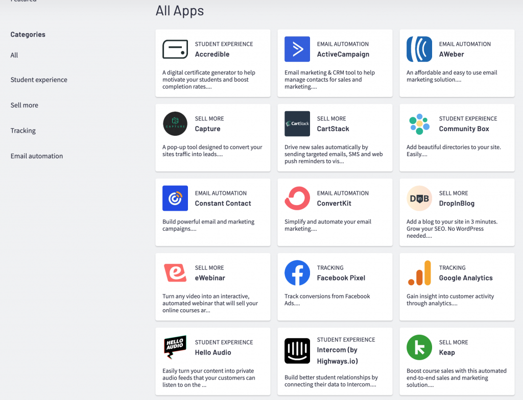 Screenshot of Thinkific App Store, categories include Student experience, sell more, tracking and email automation