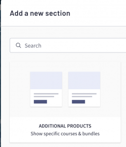 Thinkific Sales Page SiteBuilder Block Additional Products